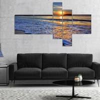 Designart 'Calm Seashore with Blue Waves' Seashore Canvas Art Print