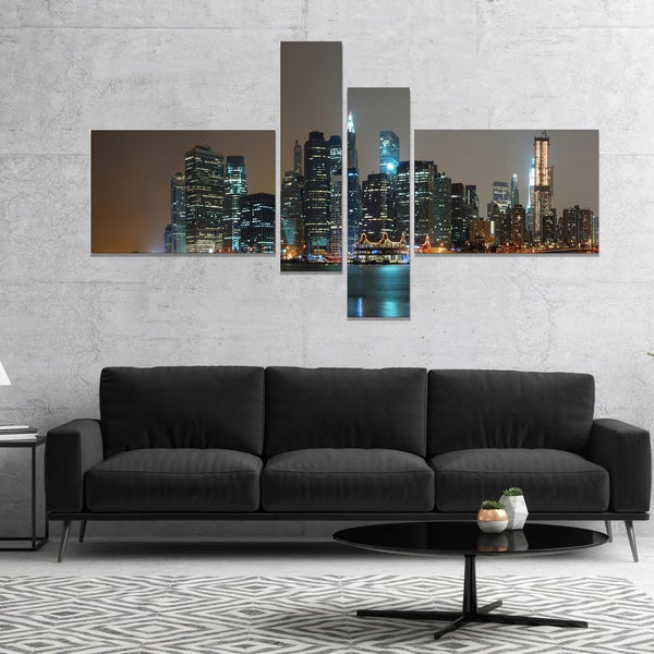 Designart 'Evening New York Panorama' Cityscape Canvas Art Print