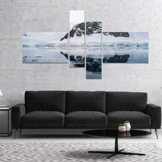 Designart 'Snowcap Hill in Antarctica' Seashore Canvas Art Print