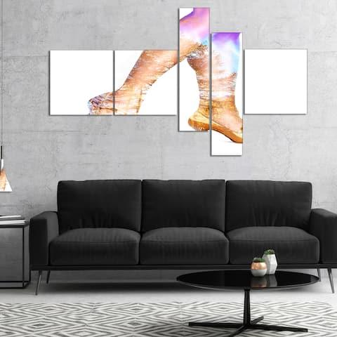 Designart 'Dancer Legs and Treescape Double Exposure' Portrait Canvas Art Print