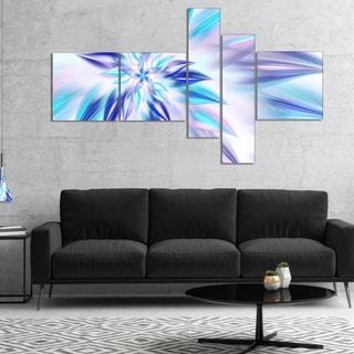 Designart 'Light Blue Fractal Spiral Flower' Abstract Canvas Art Print