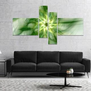 Designart 'Rotating Bright Green Flower' Abstract Canvas Art Print