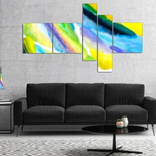 Designart 'Green Vibrant Brushstrokes' Abstract Canvas Art Print