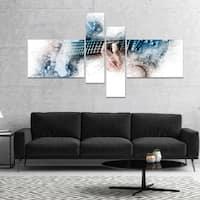 Designart 'Man Playing A Guitar Watercolor' Abstract Canvas Art Print