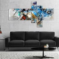 Designart 'Motorcycle Headlight Watercolor' Abstract Canvas Art Print