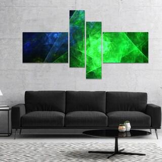 Designart 'Green Rotating Polyhedron' Abstract Canvas Art Print