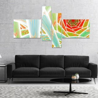 Designart 'Red Fractal Endless Tunnel' Abstract Canvas Art Print