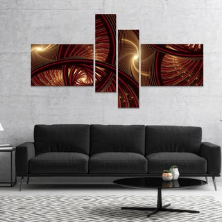 Designart 'Brown Symmetrical Fractal Pattern' Floral Canvas Art Print