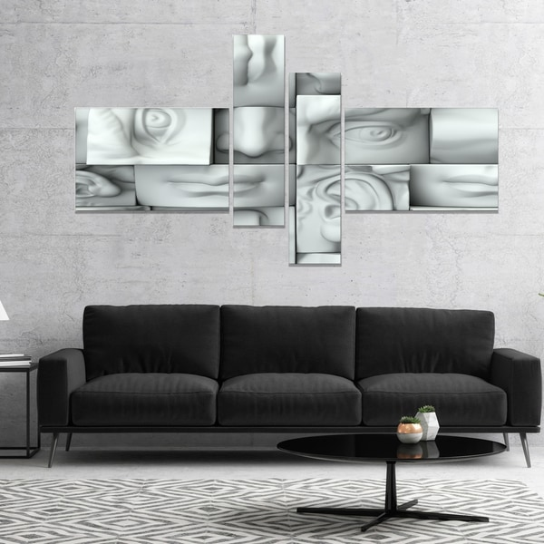 Designart 'Abstract White Blocks' Abstract Canvas Art Print
