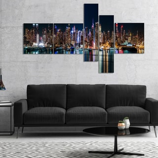 Designart 'New York Midtown Night Panorama' Extra Large Canvas Art Print
