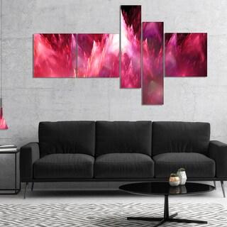 Designart 'Red Fractal Crystals Design' Abstract Canvas Art Print