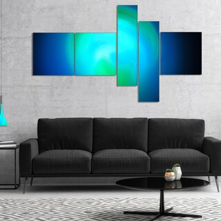 Designart 'Blue Misty Sphere on Black' Abstract Canvas Art Print