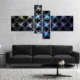 Designart 'Blue Unusual Fractal Metal Grill' Abstract Canvas Wall Art