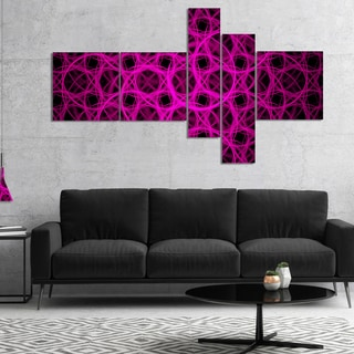 Designart 'Pink Unusual Fractal Metal Grill' Abstract Canvas Wall Art