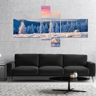 Designart 'Amazing Winter Sunrise in Mountains' Large Landscape Canvas Art Print - White