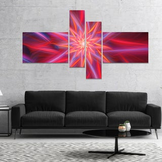 Designart 'Shining Red Purple Exotic Flower' Floral Canvas Art Print