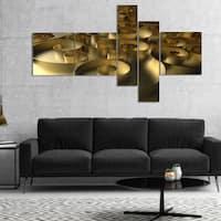 Designart 'Golden Curly Abstract 3D Design' Abstract Canvas Art Print