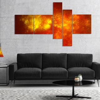 Designart 'Orange Starry Fractal Sky' Abstract Canvas Art Print