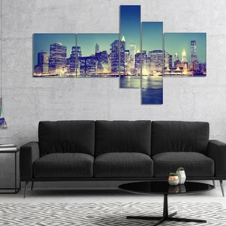 Designart 'New York City Evening Panorama' Extra Large Canvas Art Print