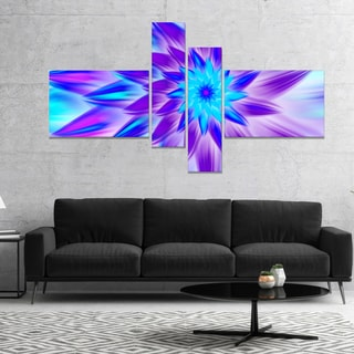 Designart 'Exotic Blue Flower Petals' Floral Canvas Art Print