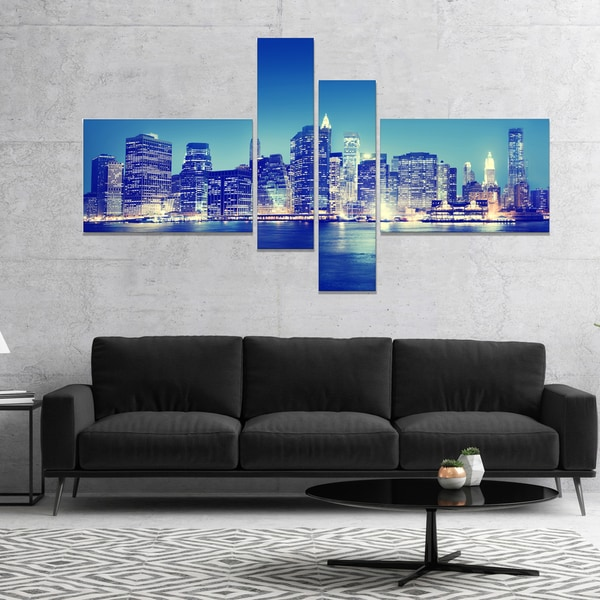 Designart 'New York City Night Panorama' Extra Large Canvas Art Print
