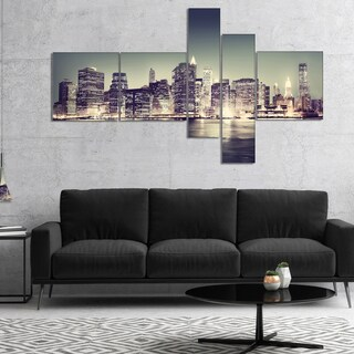 Designart 'Black and White NYC Night Panorama' Extra Large Canvas Art Print