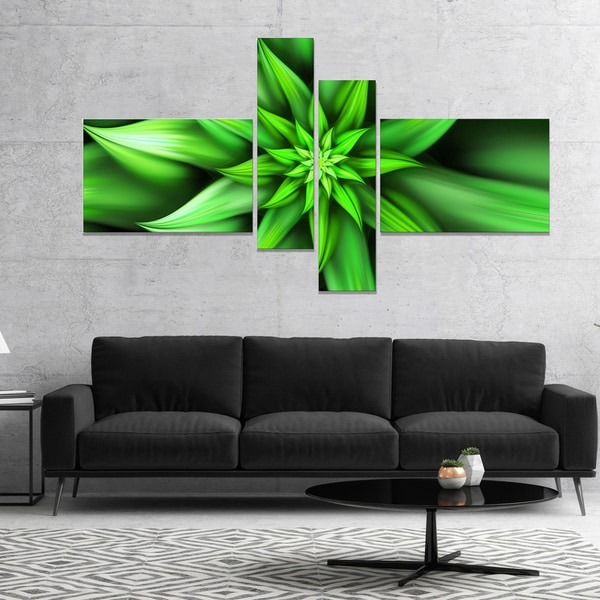 Designart 'Exotic Green Flower Petals' Floral Canvas Art Print