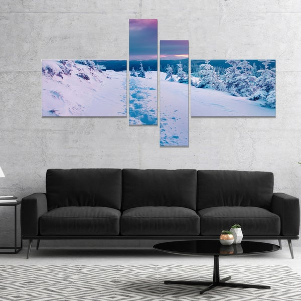 Designart 'Beautiful Sunrise over Winter Mountains' Landscape Canvas Art Print - White