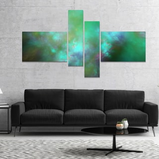Designart 'Blue Fractal Sky with Blur Stars' Abstract Canvas Art Print