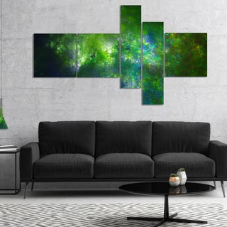 Designart 'Green Fractal Sky with Blur Stars' Abstract Canvas Art Print