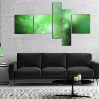 Designart 'Green Blur Sky with Stars' Abstract Canvas Art Print