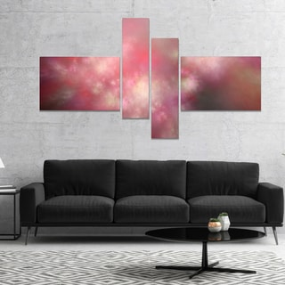 Designart 'Red Blur Sky with Stars' Abstract Canvas Art Print