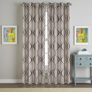 Cimboo Elegant Embroidered Wavy Blackout Curtain Panel Pair