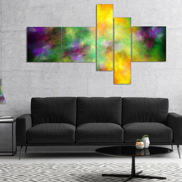 Designart 'Colorful Sky with Blur Stars' Abstract Canvas Print Art