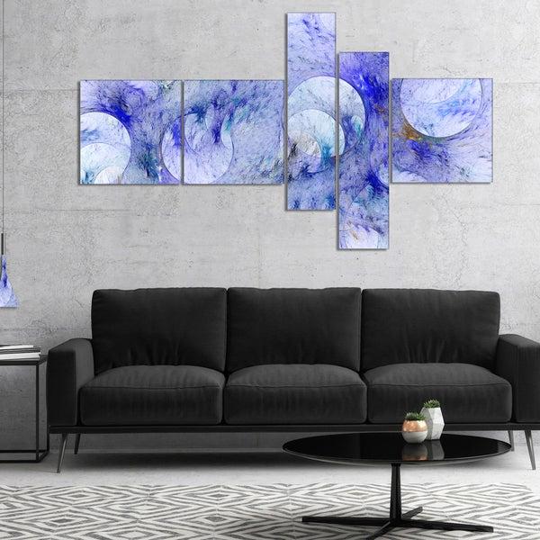 Designart 'Light Blue Fractal Glass Texture' Abstract Canvas Art Print