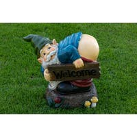 Alpine Corporation 'Welcome' Multicolored Wood Mooning Gnome Sign Statue