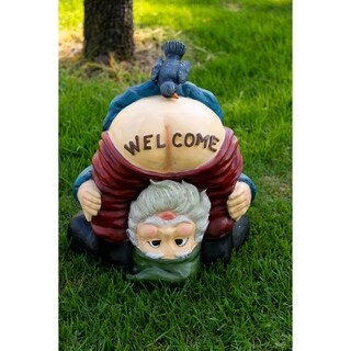 "Alpine Mooning ""Welcome"" Gnome with Bird Statue, 22 Inch Tall"