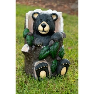 Alpine Corporation Polyresin Bear Sitting in Tree Trunk Garden Statue with Color Changing LED Lights
