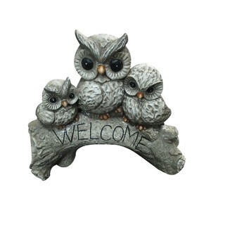 Alpine Corporation Multicolor Owl Family 'Welcome' Statue