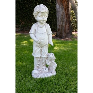 Alpine Corporation Off-White Fiberstone/Fiberglass Boy wIth Puppy Garden Statue