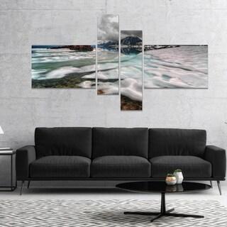 Designart 'Frozen Mountain Lake Shore' Large Landscape Canvas Art