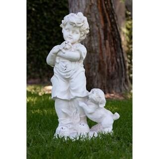 Alpine Boy and Dogs Cream Garden Statue