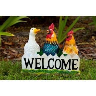 Alpine Corporation Multicolored Polyresin Birds Welcome Statue