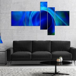 Designart 'Circled Blue Psychedelic Texture' Abstract Art on Canvas