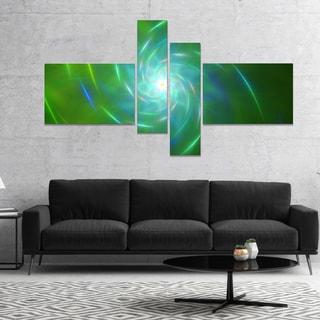 Designart 'Green Fractal Whirlpool Design' Abstract Wall Art Canvas