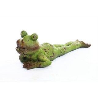 Alpine Corporation Multicolor Laying Frog Statue