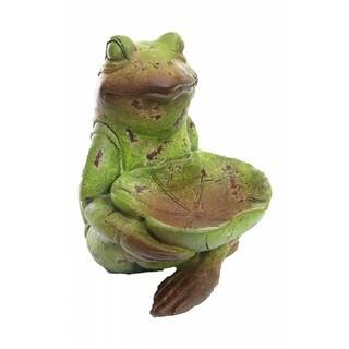 Alpine Corporation Frog Holding Leaf Bird Feeder Statue