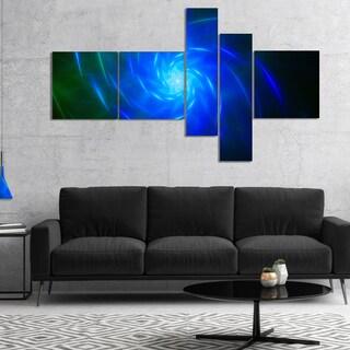 Designart 'Blue Fractal Whirlpool Design' Abstract Wall Art Canvas