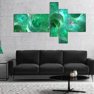 Designart 'Green Fractal Glass Texture' Abstract Canvas Art Print