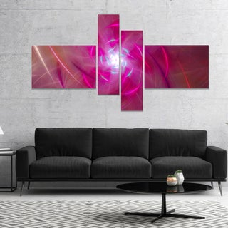 Designart 'Pink Fractal Whirlpool Design' Abstract Wall Art Canvas